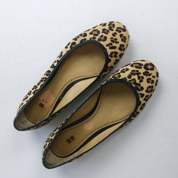 6b45ea416179 bp Shoes | Leopard Faux Hair Flats Size 75 | Poshmark